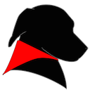 MRR Software Logo: Black dog with red bandana